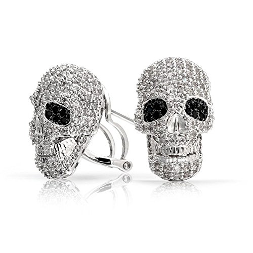 32b552be0 Image Unavailable. Image not available for. Color: 3D Caribbean Pirate Skull  Cubic Zirconia Pave CZ Stud Omega Back Stud Earrings For Women For