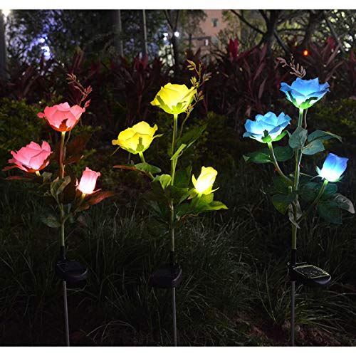 - Homeleo 3 Pack Solar Decorative Rose Stake Lights for Porch Outdoor Decor Garden Memorial Cemetery Backyard Flower Bed Decoration Mother's Day Grandma Gifts(Pink,Yellow,Blue)