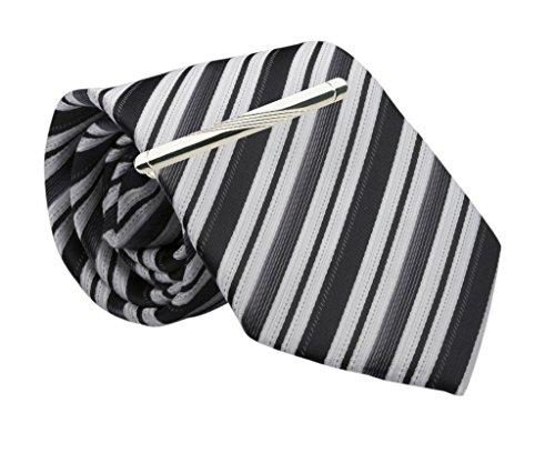Boys Black Stripe Tie and Silver-Tone Tie Bar Clip Set, 45-inch