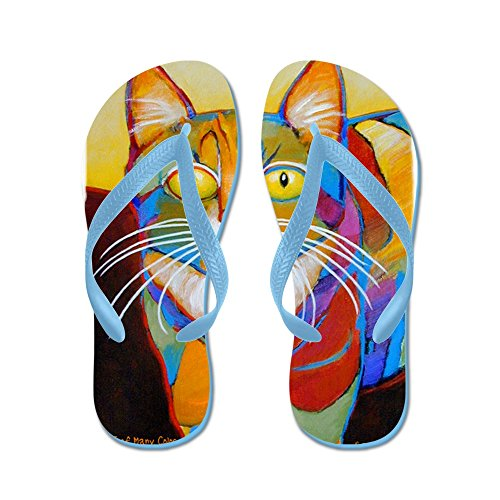 Cafepress Cat-of-many-colors - Slippers, Grappige Leren Sandalen, Strandsandalen Caribbean Blue