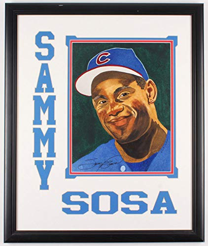 Sammy Sosa Autographed Signed Chicago Cubs 23X27 Deluxe Framed Lithograph Display - JSA Certified