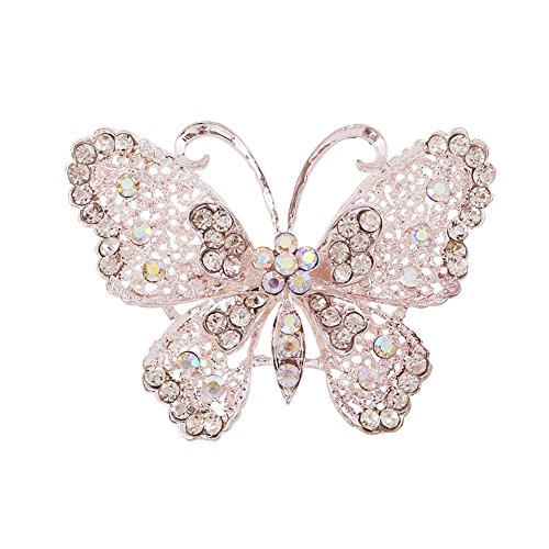 Fablcrew Created Butterfly Rhinestone Brooch for Women Bridal Brooch Pin Size 7×5cm