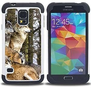 - wolf pack winter canine animals nature/ H??brido 3in1 Deluxe Impreso duro Soft Alto Impacto caja de la armadura Defender - SHIMIN CAO - For Samsung Galaxy S5 I9600 G9009 G9008V