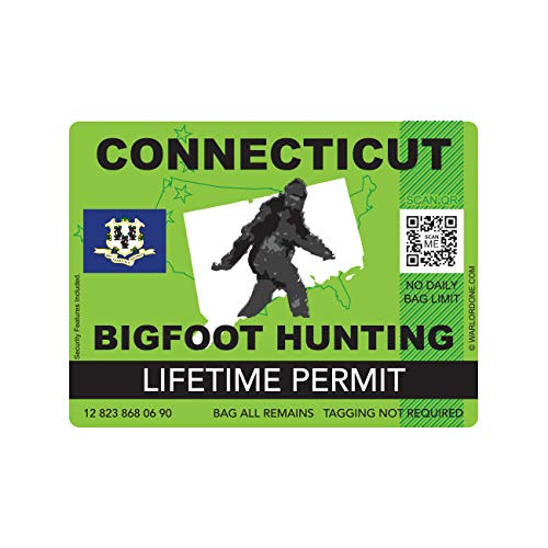 fagraphix Connecticut Bigfoot Hunting Permit Sticker Die Cut Decal Sasquatch Lifetime FA Vinyl - 4.00 Wide
