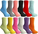 Excell Womens Fuzzy Socks (12 Pairs) Soft Warm Winter Comfort Socks Multicolor, Solid Fuzzy C, 9-11