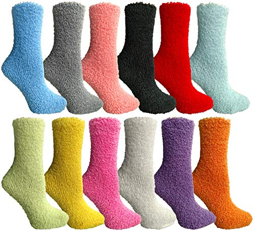 Yacht & Smith Women Fuzzy Socks Crew Socks, Warm Butter Soft (9-11) (12 Pairs Solid Fuzzy D)