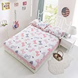 SL&CL Cotton bed bedspread full cotton thickening bed with cotton single piece clamp bedding mattress slip protection cover-O 180x200cm(71x79inch)
