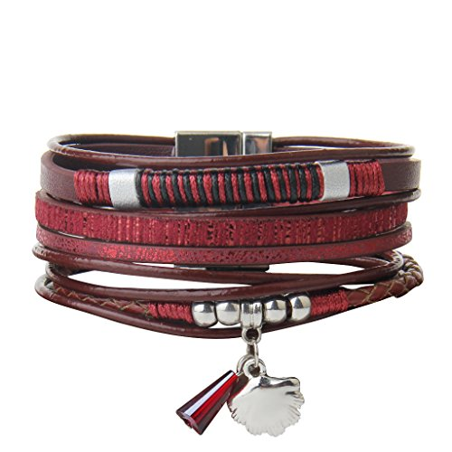 Red Leather Bracelet Charm Cuff Wrap Bangle with Crystal Shell Pendant and Magnetic Buckle By Free Gift Box Jenia (Diamond Buckle Bangle)
