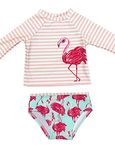 GRAPENT Baby/Toddler Girls Pink and Green Two Pieces Long Sleeves Flamingo Print Rash Guard Bathing Suit Size 12-18M