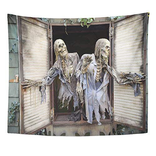 Emvency Tapestry Wall Hanging Polyester Fabric Halloween Ghost in Haunted House at The Pne Located Vancouver British Columbia for Bedroom Living Bedspread Room Dorm Decorations 50x60 Inches -