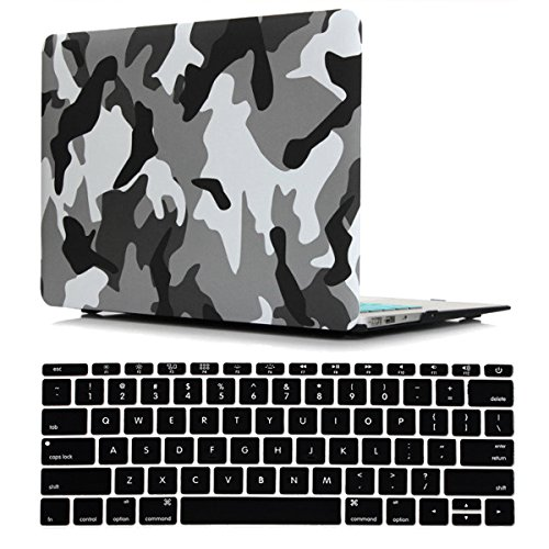 iZi Way Military Style Plastic Hard Case with Black Keyboard Cover for Apple Laptop MacBook Air 13 Inch (Models: A1369 and A1466), Camouflage City Grey ()