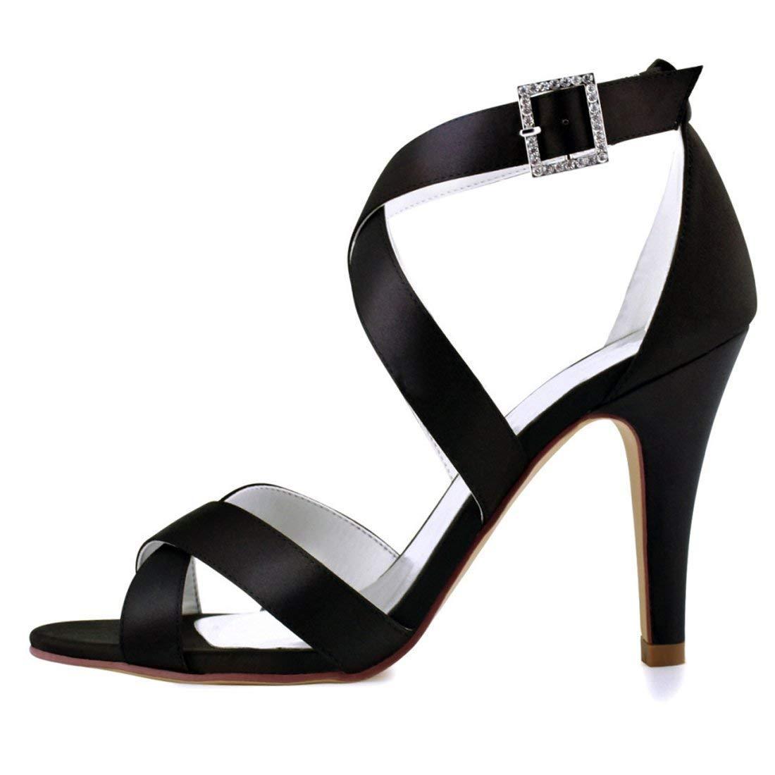 ZHRUI Damen Schnalle Ankle Wrap Wrap Wrap Schwarz Satin Trendy Hochzeitskleid Sandalen UK 5 (Farbe   -, Größe   -) e8aed0