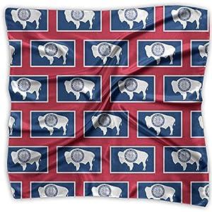 Ladies Vintage Wyoming Flag Pattern Print Square Handkerchiefs Bandanas Head & Neck Tie Scarf