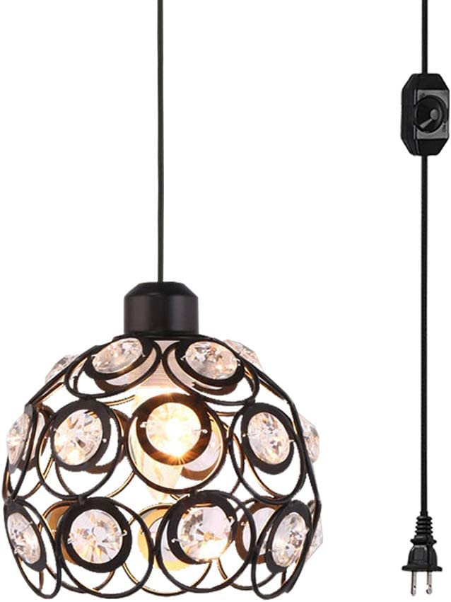 Kiven Plug-in Crystal Pendant Lamp Hollow Black Shade Light Fixtures Mini Classic Chandelier with UL Listed On Off Dimmer Switch Cord Bulb Not Included