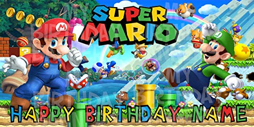 Super Mario Bros Birthday Party Banner Personalized/Custom