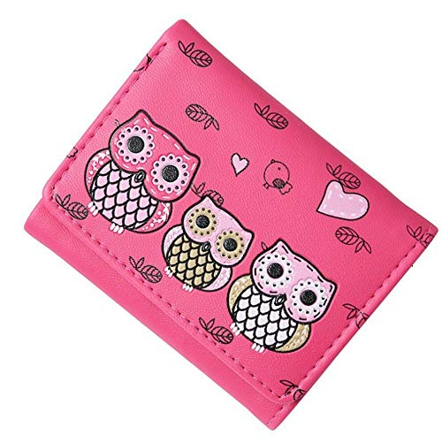 - Women Simple Retro Owl Printing Short Wallet Coin Purse Card Holders RG (Color - rose red)