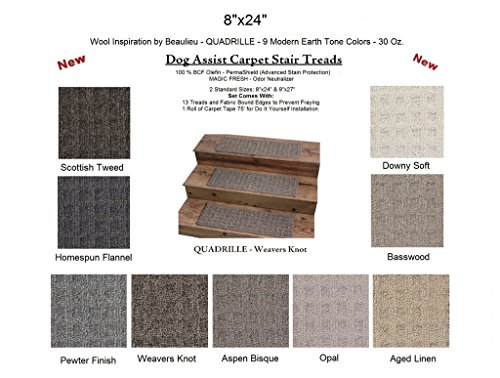 OG ASSIST Stair Treads - Downy Soft - QUADRILLE - - 35 Oz. Textured Loop Style in Modern Earth Tones | 8 Colors to Choose From (Pet Soft Loop)