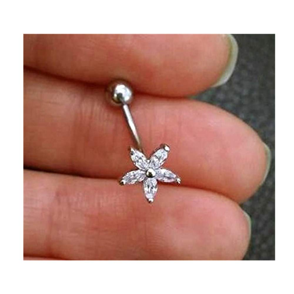 Amazon Com Flower Belly Button Ring Flower Belly Ring Sparkly