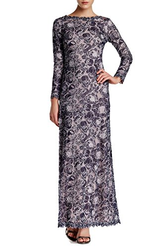 Tadashi Shoji Women's Long Sleeve Embroidered Sheath Gown navy ivory 10