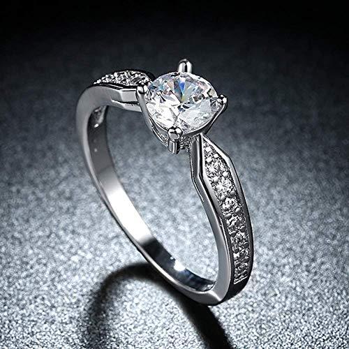 Xiaodou Women's Ring 1 Carat Classical Platinum Zircon Solitaire Engagement Ring Engagement Ring (8)