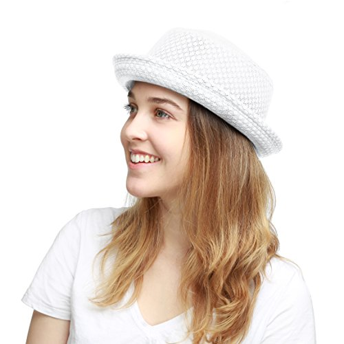 The Hat Depot Light Weight Classic Soft Cool Mesh Porkpie hat (S/M, White)