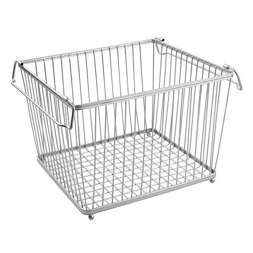 - InterDesign York Lyra Kitchen Organizer Basket - Large Wire Pantry Storage Bin, Silver