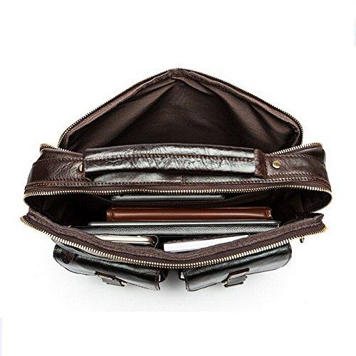 stepack marca Vintage de hombre de piel auténtica bolso bandolera maletín para portátiles, café (marrón) - BAM001_3 rojo marrón