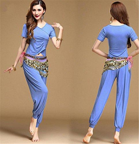Femmes usure de danse du ventre / 2 PCS / coton modal usure usure de yoga lake blue iByrwk