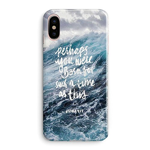 Compatible iPhone X Case for Girls Women Life Power Quotes Cute Ocean Waves Blue Bible Verses Women Quotes Christian Inspirational Sea Wave Esther 4:14 Lord Soft Clear Side iPhone X/Xs Case (Funny Quote Iphone 4 Case)
