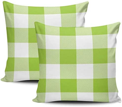 Home Set van 2 rustieke kussenslopen Lime Green White Plaid Outdoor Plaid Covers 18 X 18 Inches