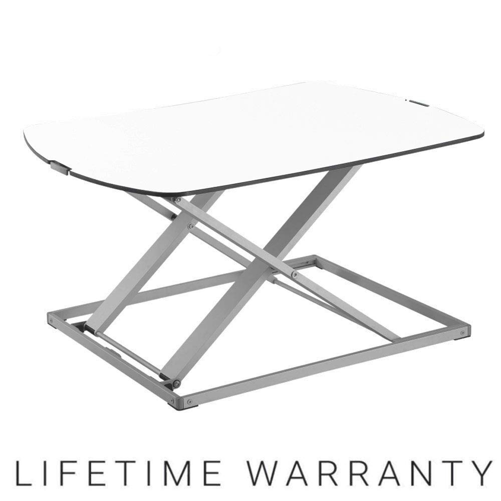 KRIËGER KD701 Ultra Slim Indoor Outdoor Compact Sit Stand Up Desk Ergonomic Height Adjustable Tabletop Standing Desk Weather Resistant White Top Finish