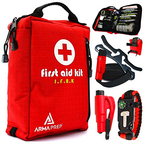 - Compact First Aid Kit - IFAK Medical Kit with Labeled Compartments, MOLLE & Survival Tools - Small First Aid Kit for Boat Car Camping Hiking Travel & Backpacking