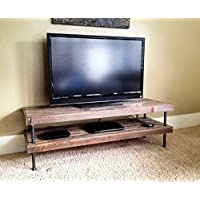 Vintage and Modern Mosaic Table - TV Stand - Media Center - Console Table - Reclaimed Rustic Wood with Steel Pipe Legs
