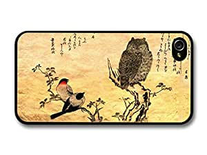 Cute Birds And Owl In a Japanese Themed Cool Style Background case for iPhone 4 4S