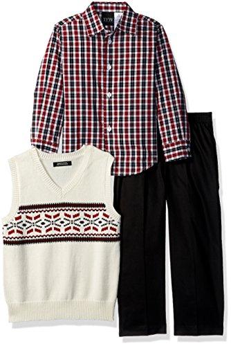 TFW Dresswear Boys' Toddler Sweater Vest Set, fair isle Black, -