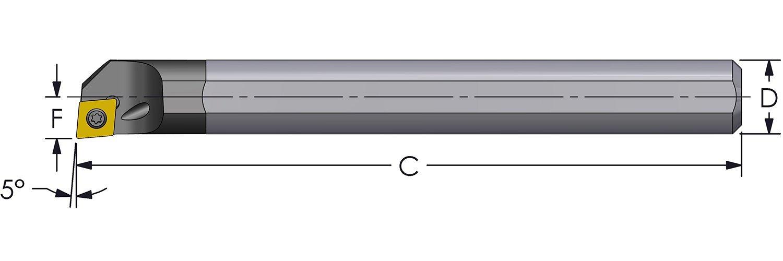 Ultra-Dex E08J SCLCR2-312 Carbide Boring Bar to Hold a Positive CCMT 21.51 at -5 Degree Lead, Right Hand, Coolant Thru, 0.500'' x 4.5'', 0.600'' Minimum Bore