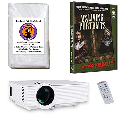 AtmosFearFx Unliving Portraits Halloween DVD Projector Kit with 1900 Lumen LED Video Projector, Reaper Brothers High Resolution Window Rear Projection Screen