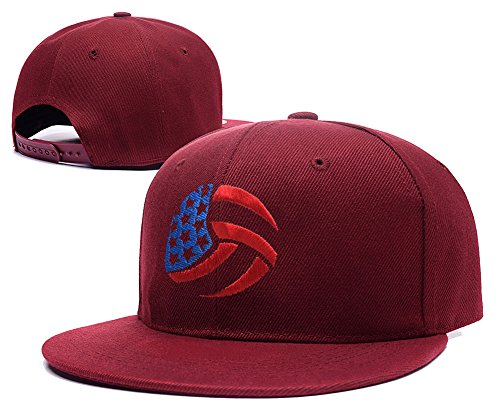 RHXING USA Volleyball Logo Adjustable Snapback Embroidery Hats Caps - Red