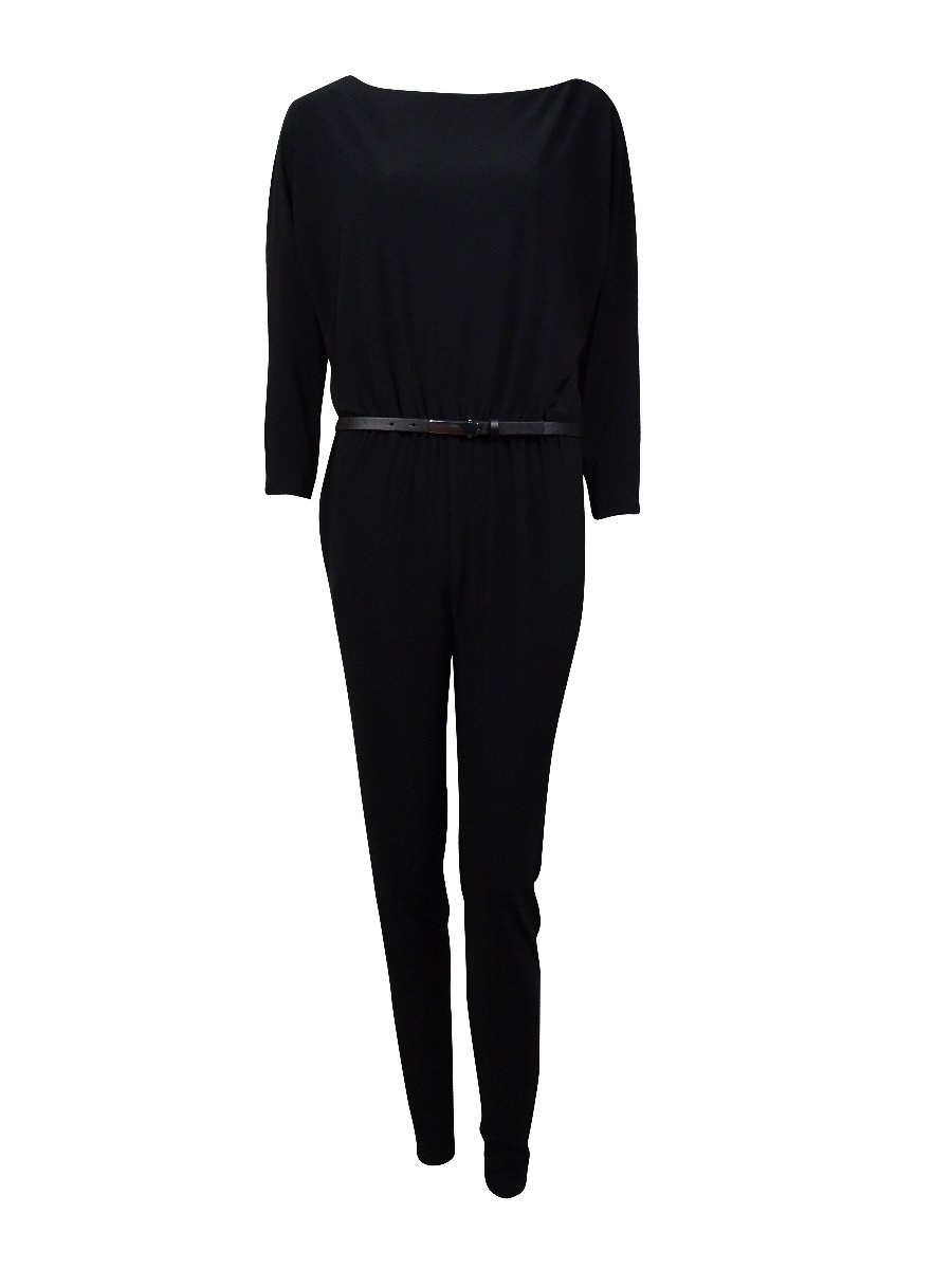 Ralph Lauren Women's Slim Ankle Belted Jersey Jumpsuit (4, Black)
