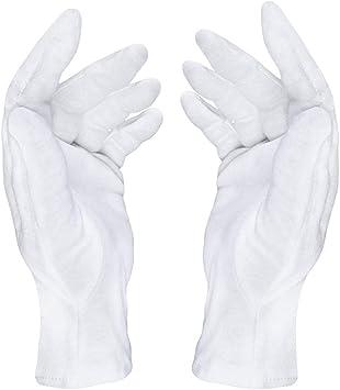 3 pares de guantes de algodón para cuidado médico, de tela suave, guantes de jersey de color blanco: Amazon.es: Salud y cuidado personal