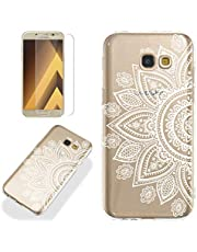 Clear Case for Samsung Galaxy A5 2017 (A520) with Screen Protector,QFFUN Ultra Thin Slim Fit Soft Transparent Silicone Phone Case Crystal TPU Bumper Scratch Resistant Protective Cover - Sunflower