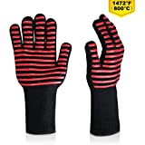 Jalan Upgraded 1472°F Heat Resistant Grilling Gloves BBQ Oven Gloves Mitts Protective Mitts & Potholders for BBQ,Grilling,Cooking,Oven Baking 1 Pairs Black