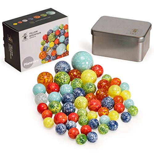"Yellow Mountain Imports Marbles Set in Tin Box, ""Planetary"""