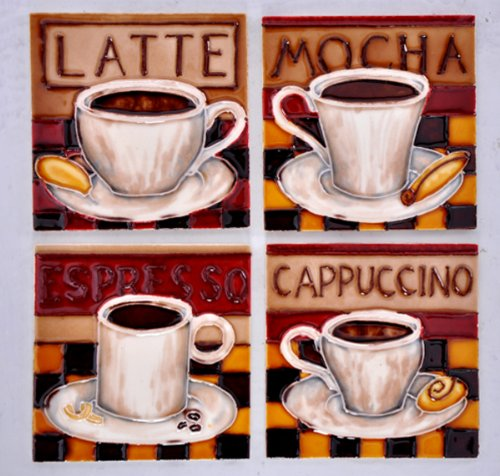 (Coffee Cups - Decorative Ceramic Art Tile / 4