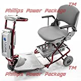 Tzora - Classic Lexis Light - Folding Lightweight Travel Scooter - 4-Wheel - Red - PHILLIPS POWER PACKAGE TM - TO $500 VALUE