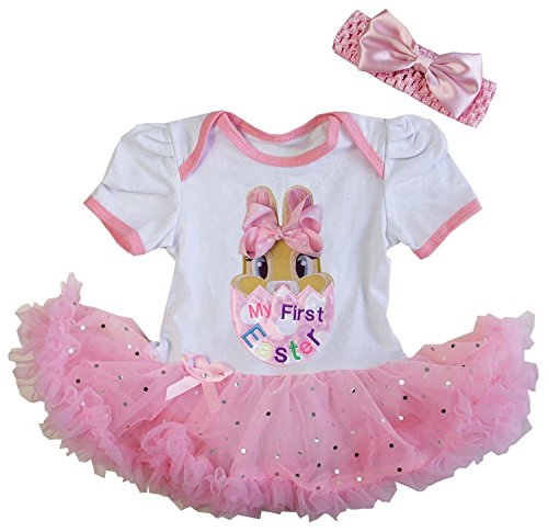 Kirei Sui Baby First Easter Bunny Glitter Pink Bodysuit Tutu X-Large White