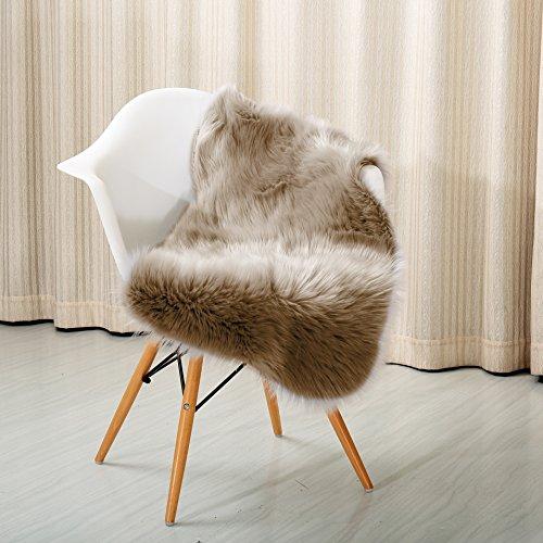 "Reafort High Pile Super Soft Faux Sheepskin Rug, Chair Cover, Sofa Cover 20inx36in (20""x 36"", Brown)"