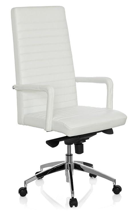 hjh OFFICE LENGA Sillón de Oficina operativo, Piel, Blanco, 50.0x60.0x132.0 cm