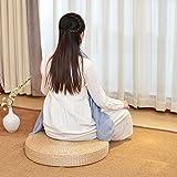 LJ&XJ Futon Cushion, Thick Round Rattan Wicker Seat cushion, Comfortable Wear-resistant, Yoga Floor Meditation Tatami Indoor Outdoor-A diameter60cm(24inch)