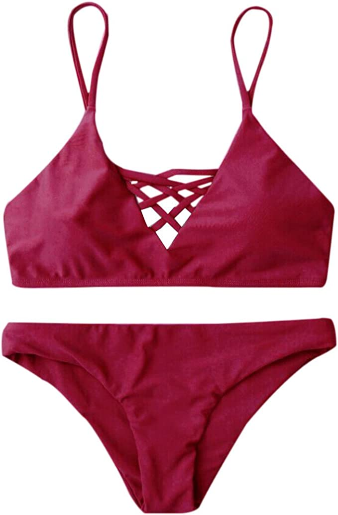 NPRADLA Tendenza per Il Tempo Libero Bikini da Donna Set Fasciatura Push-Up Reggiseno Imbottito Costume da Bagno da Mare Costume da Bagno Costume da Bagno Sconto Primavera Estate